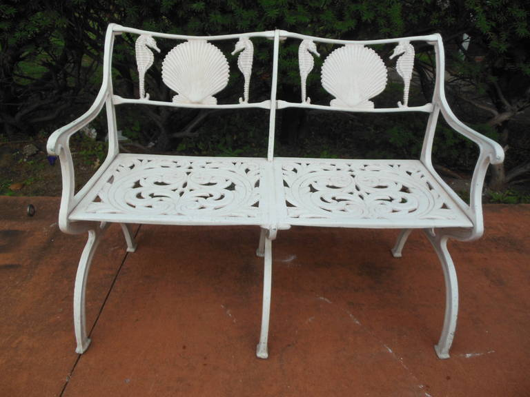 Bench With Seahorse And Shell Motif By Molla At 1stdibs