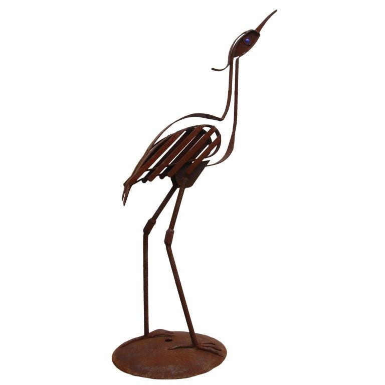 Bird sculpture wrought iron by cumpston for sale at 1stdibs - Wrought iron garden sculptures ...