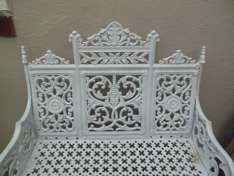 American Cast Iron Garden Bench by Peter Timmes, Brooklyn, NY In Excellent Condition For Sale In Long Island, NY
