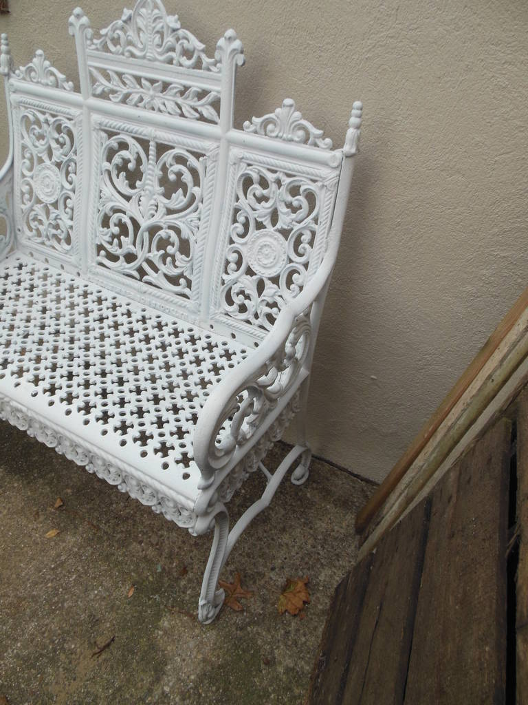 19th Century American Cast Iron Garden Bench by Peter Timmes, Brooklyn, NY For Sale
