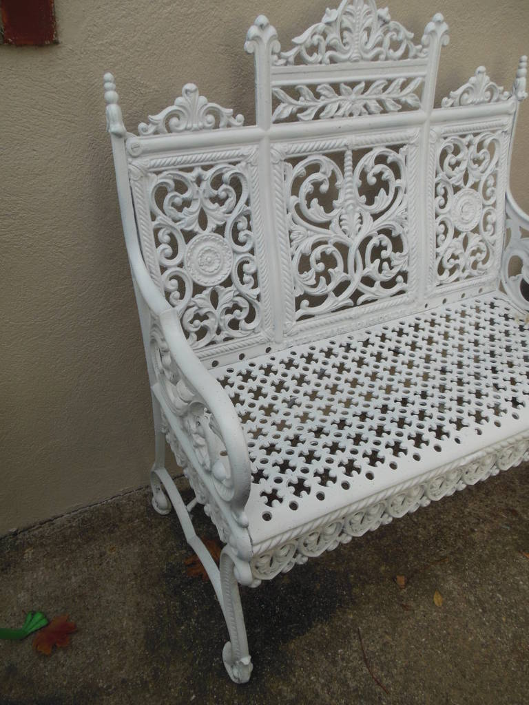 American Cast Iron Garden Bench by Peter Timmes, Brooklyn, NY For Sale 1