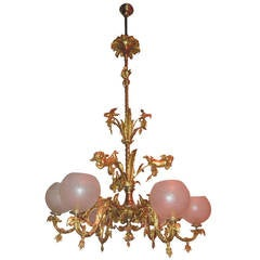 "Antique Chandelier, Rococo  19th Century, 84"" tall"