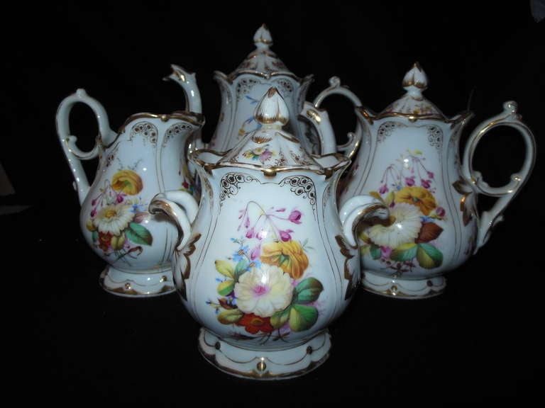 French Old Paris Tea Set Rococo Style For Sale