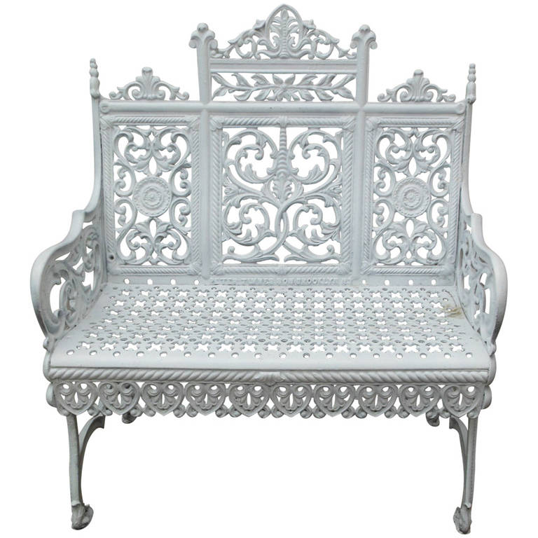 American Cast Iron Garden Bench by Peter Timmes, Brooklyn, NY For Sale