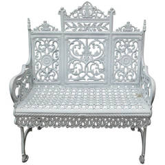 American Cast Iron Garden Bench by Peter Timmes, Brooklyn, NY