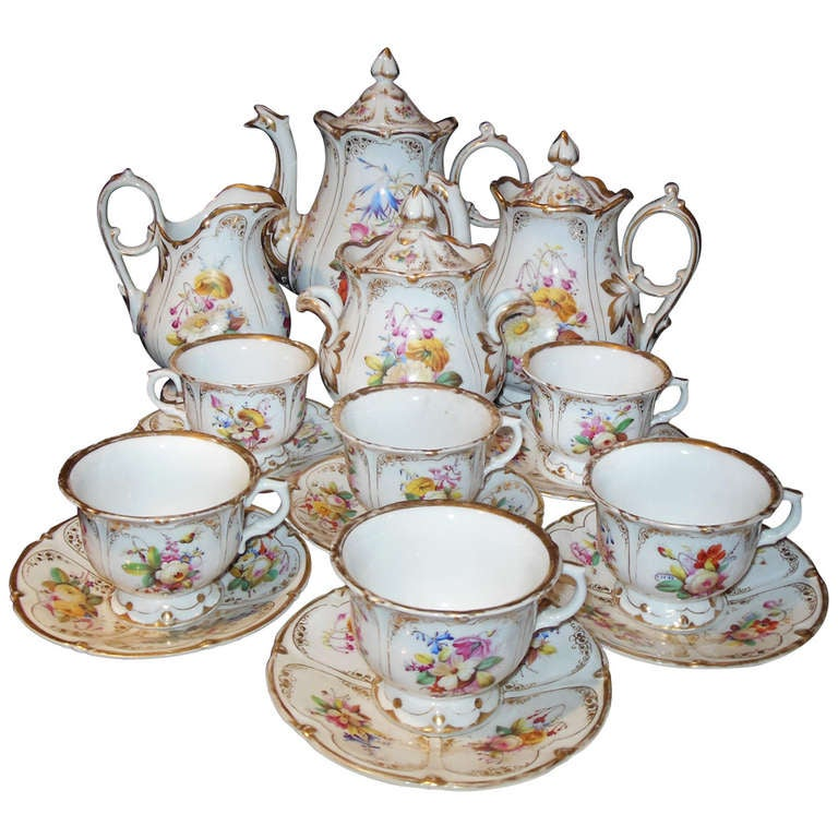 Old Paris Tea Set Rococo Style At 1stdibs