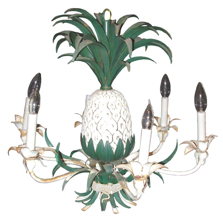 Pineapple Chandelier Hollywood Regency Style 1
