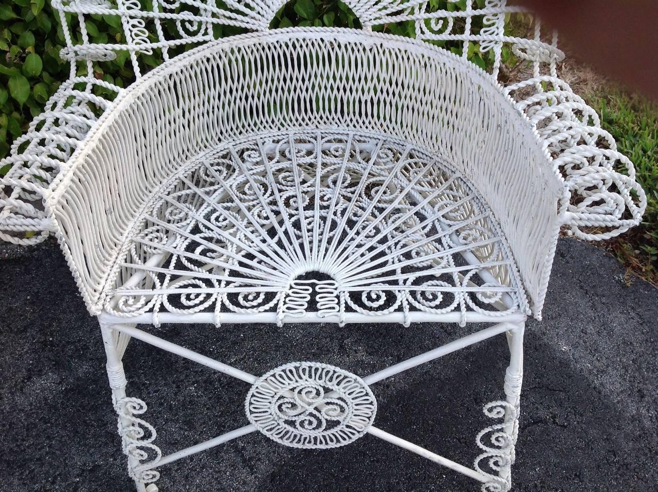 Pair of Iron Wirework High Arch Top Barrel Back Chairs at 1stdibs