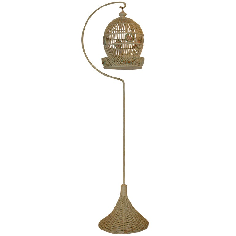 Wicker Bird Cage on Original Pedestal