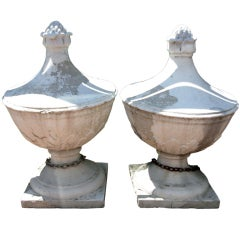 Pair of Large Stone Finials from the Garden City Hotel, Long Island, NY