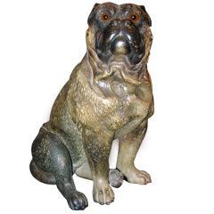 Terra Cotta Sitting Pug Dog Attributed to Goldscheider