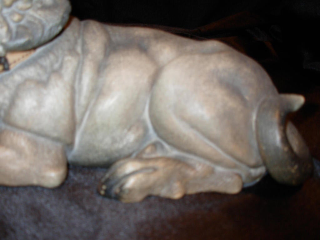 Terra Cotta Dog with Glass Eyes, Reclining In Excellent Condition For Sale In Long Island, NY