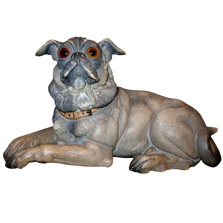 Terra Cotta Dog with Glass Eyes, Reclining For Sale