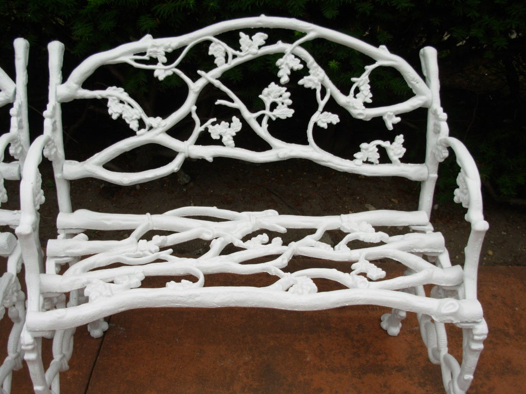 19thc Pair Of Cast Iron Rustic Or Twig Garden Benches At 1stdibs