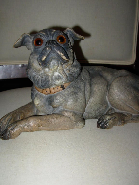 Late Victorian Terra Cotta Dog with Glass Eyes, Reclining For Sale