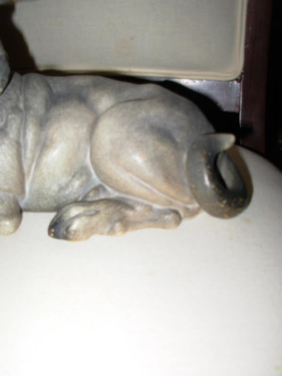 Terra Cotta Dog with Glass Eyes, Reclining For Sale 1