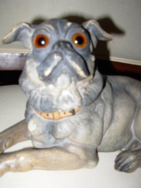 Terra Cotta Dog with Glass Eyes, Reclining For Sale 2