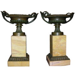 Pair of Bronze and Sienna Marble Tazza's