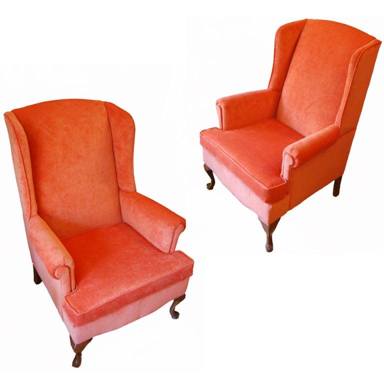 Pair Of Retro D Orange Chenille Velvet Covered Wing Back