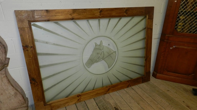 Very Large Etched Glass Equestrian Window or Table Top 2