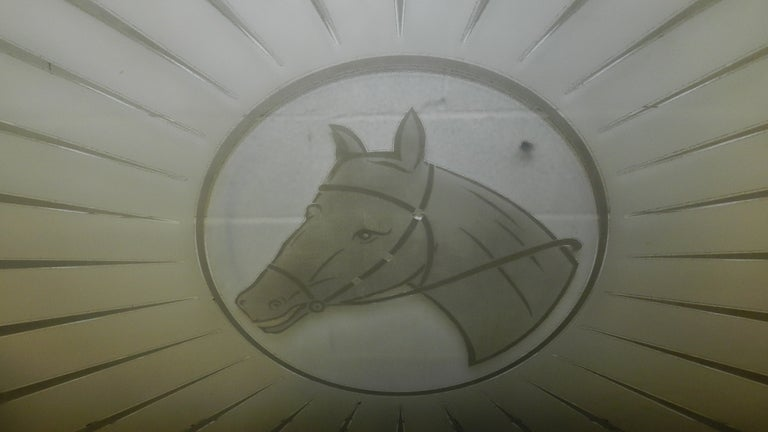 Very Large Etched Glass Equestrian Window or Table Top 3
