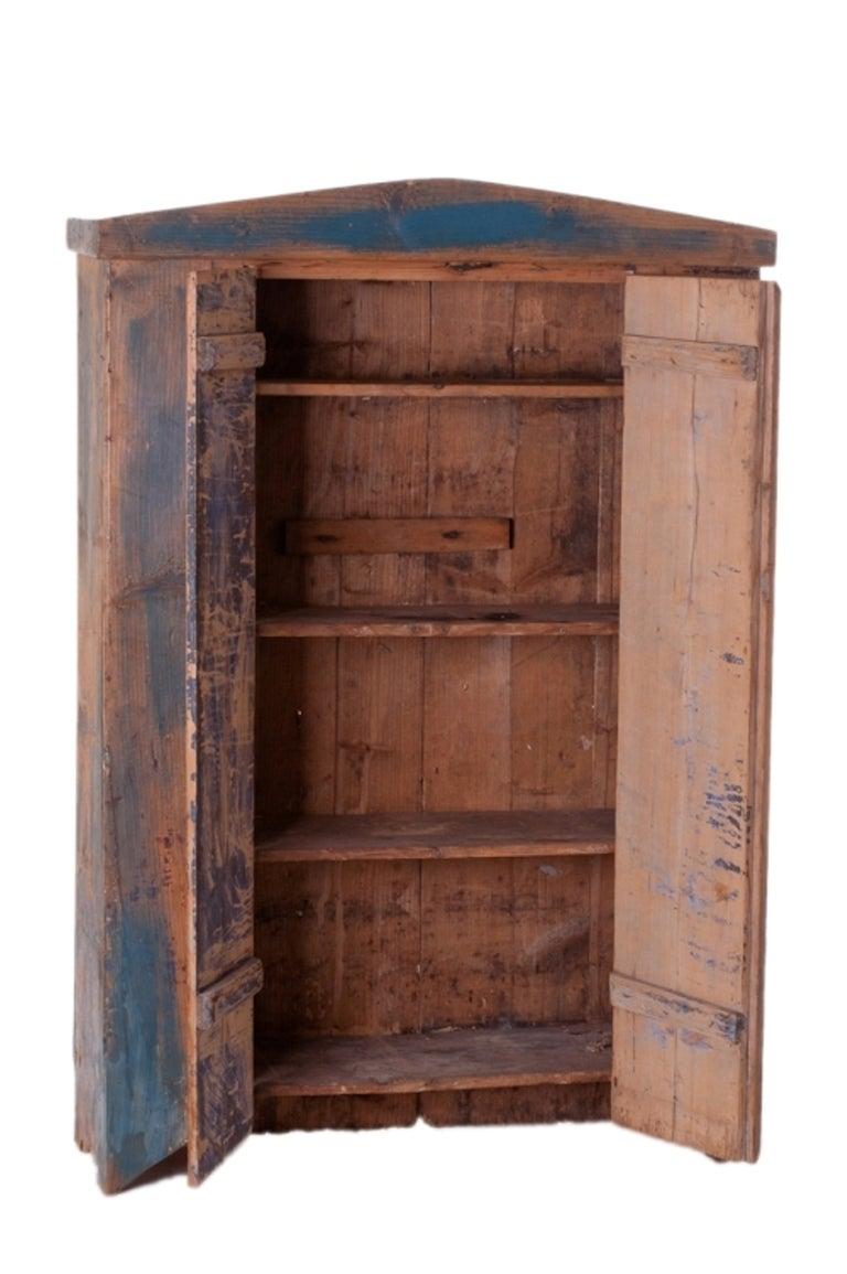 Original Blue Painted Antique Pine Cupboard 2 - Original Blue Painted Antique Pine Cupboard At 1stdibs