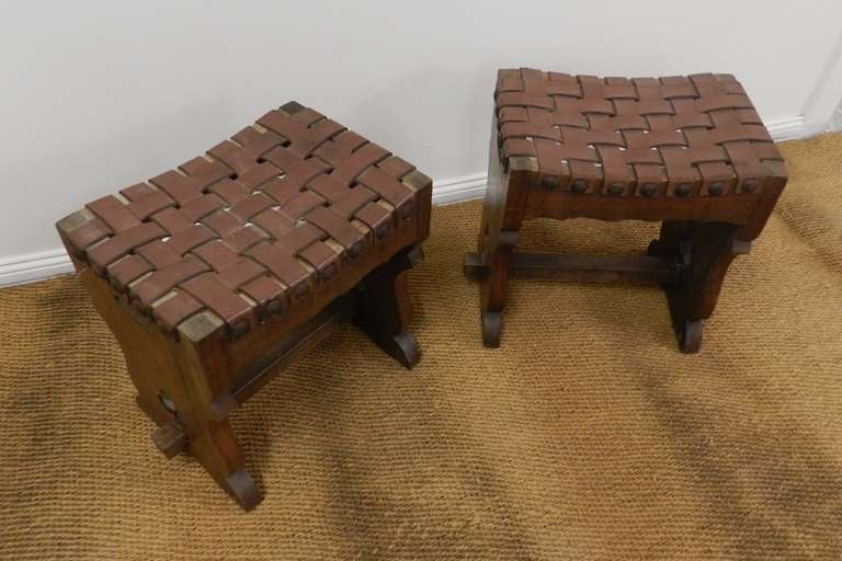 Woven Leather Arts And Crafts Oak Stools At 1stdibs