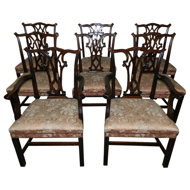 set of eight mahogany chippendale chairs at 1stdibs