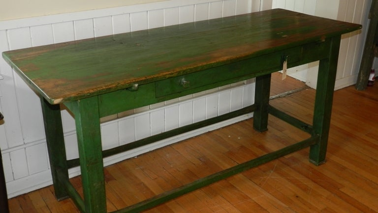Antique Green Farm Table At 1stdibs