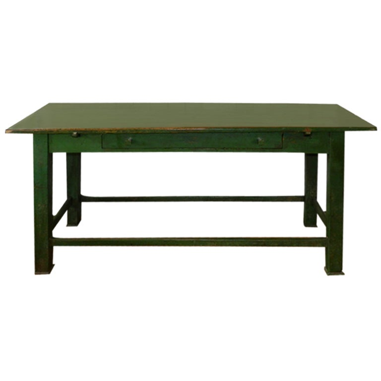 Floating Square Coffee Table In Green And Black Slatelike: Antique Green Farm Table At 1stdibs