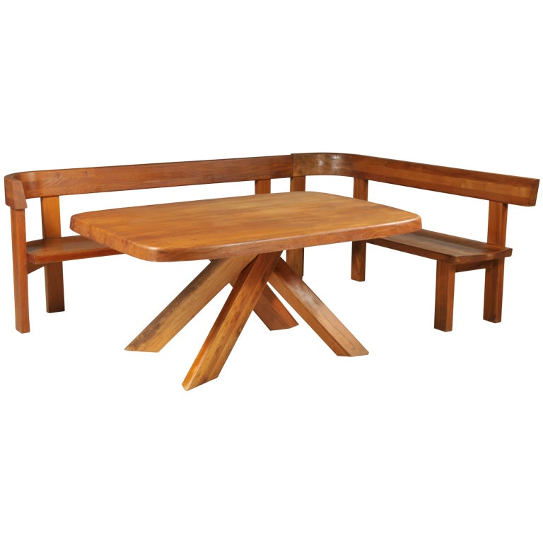 Dining table set in elm wood by pierre chapo circa 1970 for 1970 dining room set
