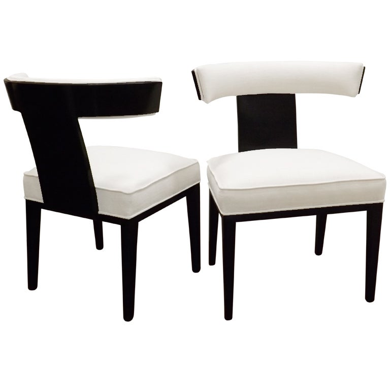 Samuel Marx Curved Back Chairs in Silk