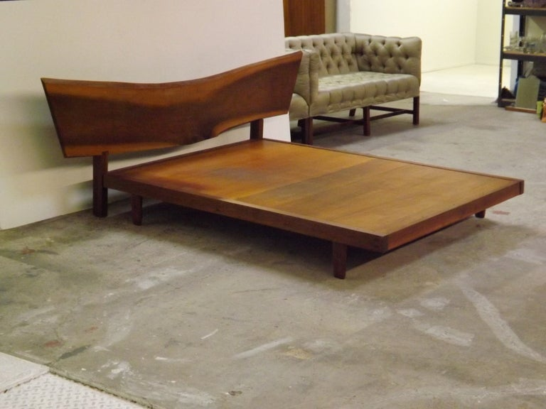George Nakashima Platform Bed With Free Edge Headboard For