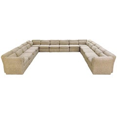Arthur Elrod Sectional Sofa in Herringbone Fabric