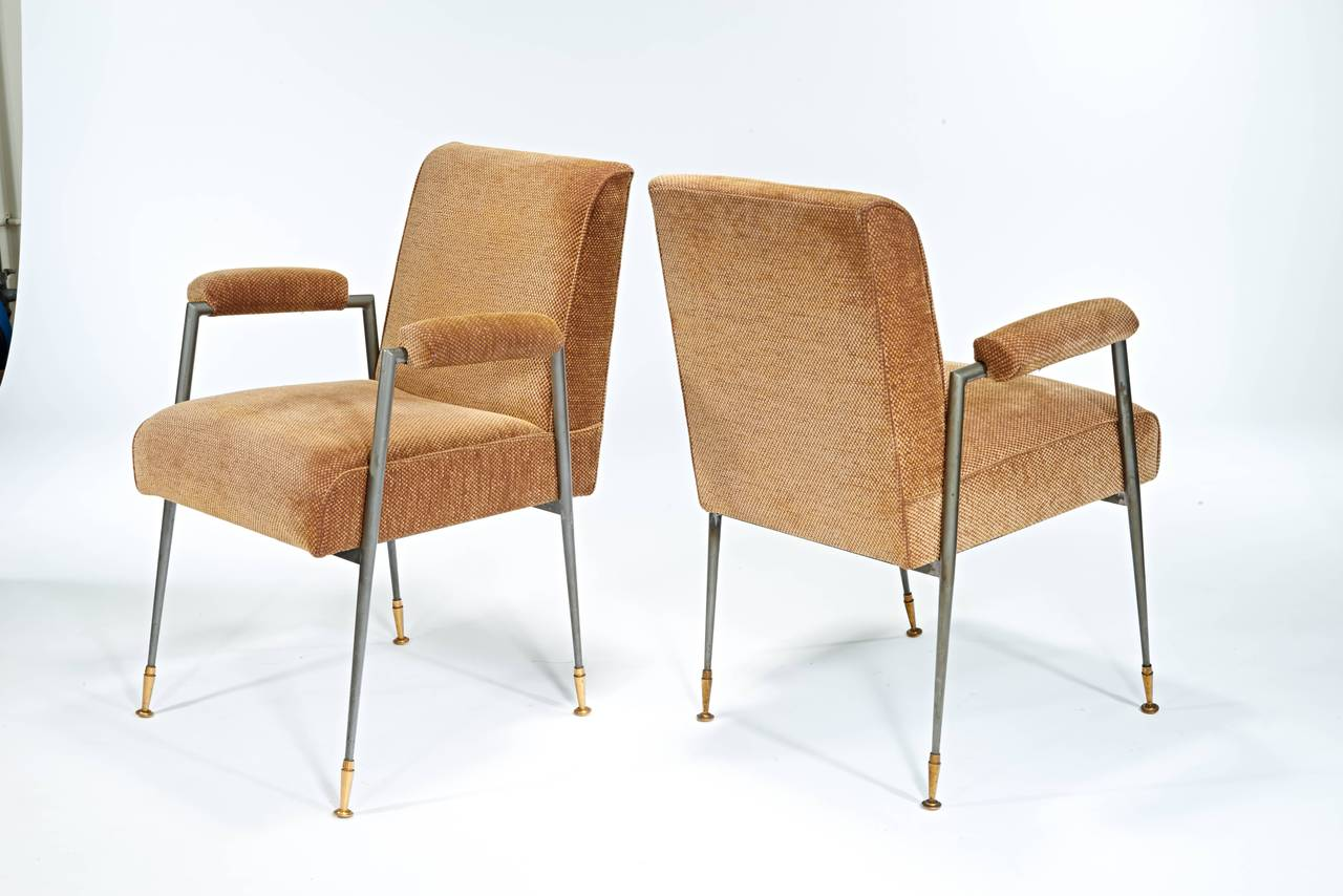 Mid-Century Modern Jules Leleu Armchairs in Steel and Brass For Sale