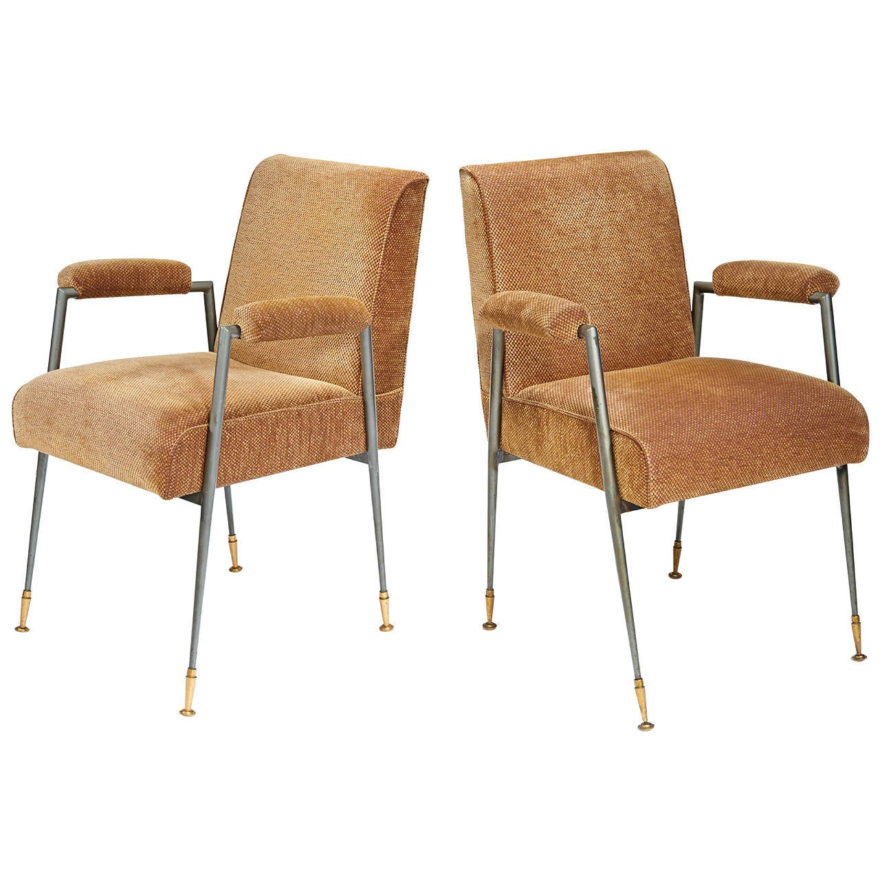 Jules Leleu Armchairs in Steel and Brass For Sale