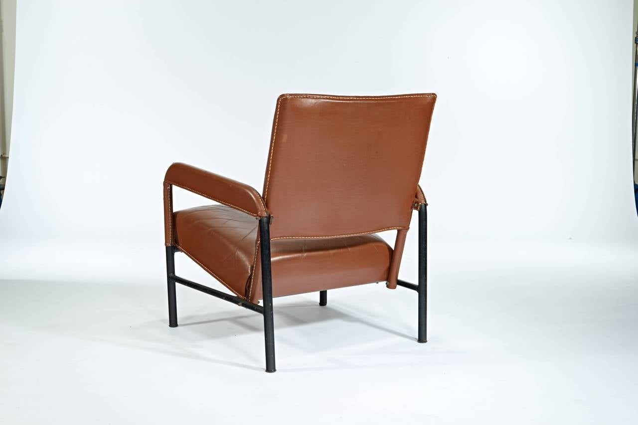 Mid-Century Modern Jacques Adnet Caramel Leather Armchair For Sale