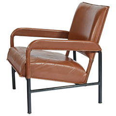 Jacques Adnet Caramel Leather Armchair