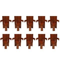 Paul De Taye Rosewood Armchairs-Set of 10