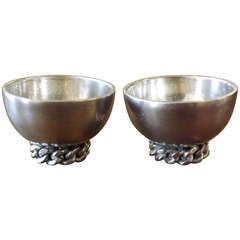 Jean Despres Chain Link Silver Salt Bowls