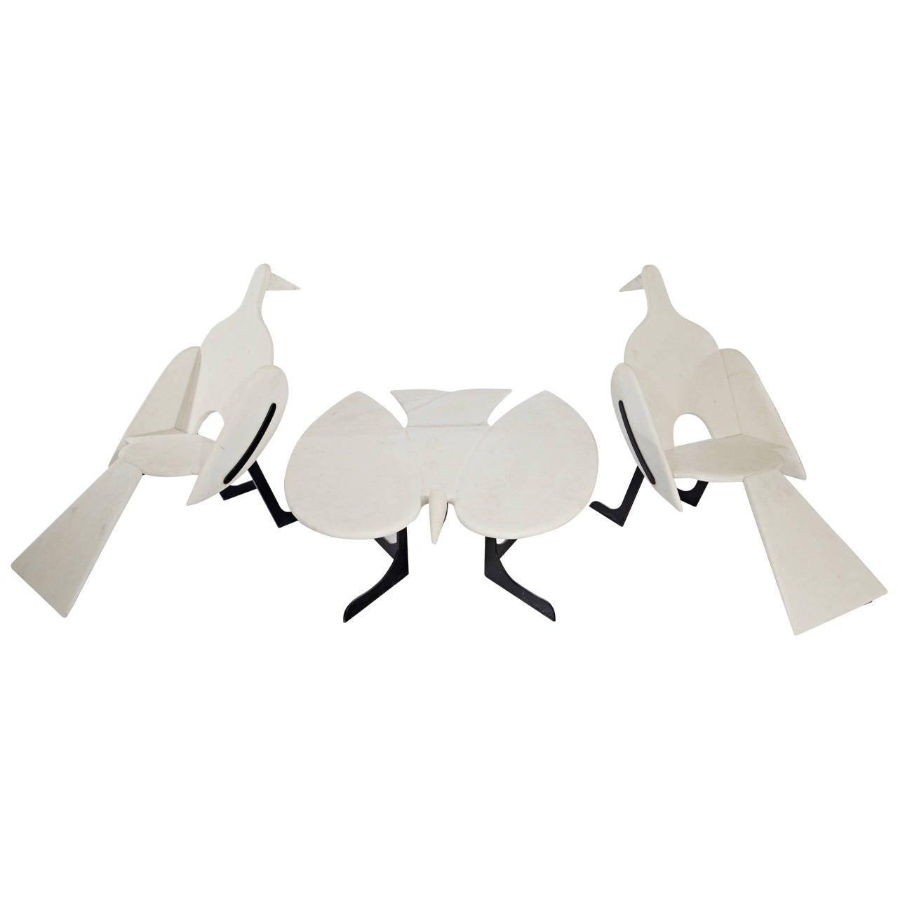François-Xavier Lalanne Oiseaux de Marbre trio, late 20th century, offered by Galerie XX