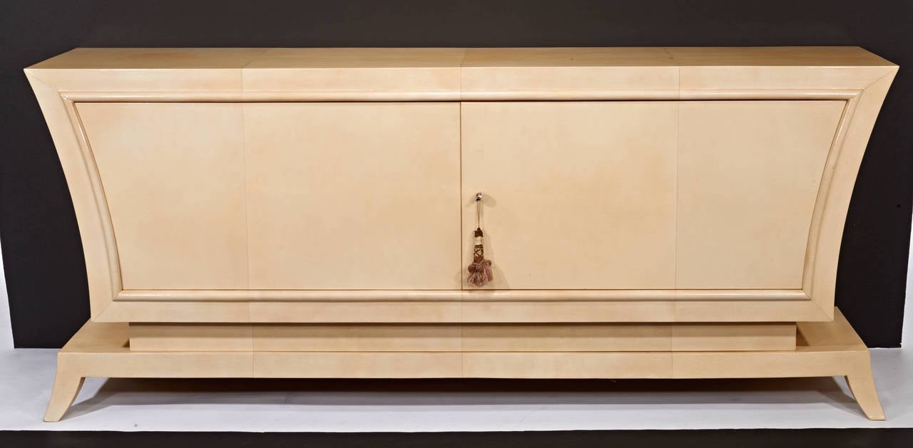 Art Deco Jean Pascaud Parchment Cabinet For Sale