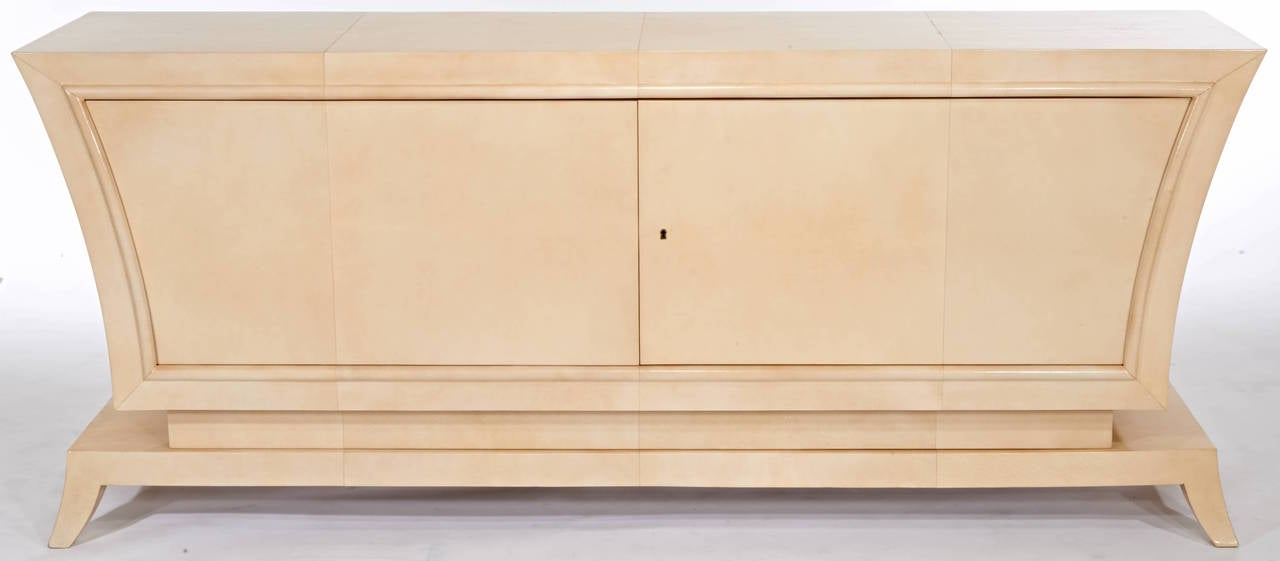 French Jean Pascaud Parchment Cabinet For Sale