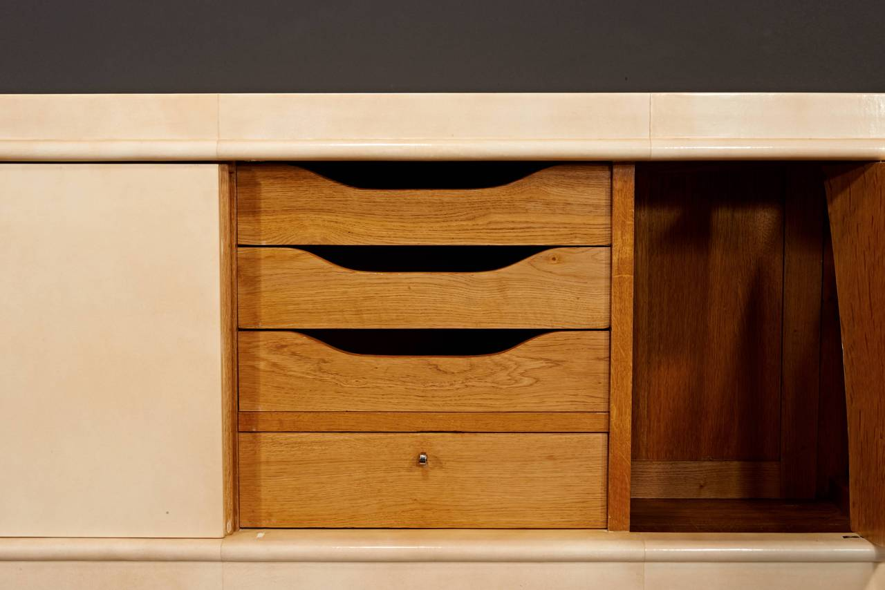 20th Century Jean Pascaud Parchment Cabinet For Sale