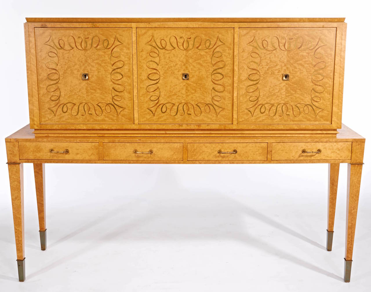 Gorgeous Dominique satinwood cabinet. Provenance: Barry Friedman, NYC.