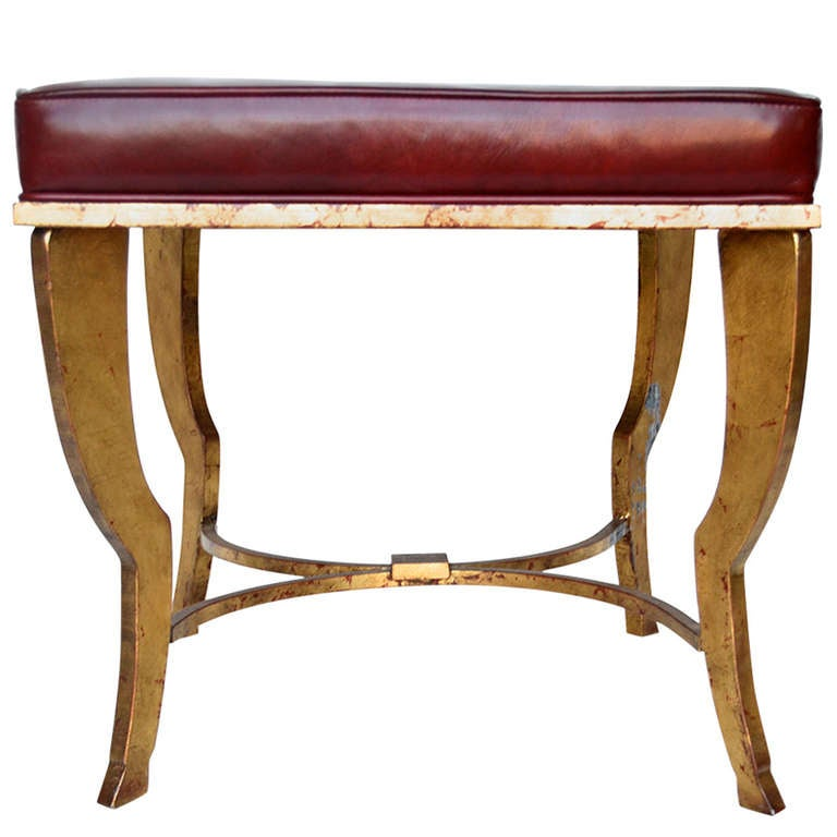 Maison Ramsay Gilded Iron Stool with Oxblood Leather Top