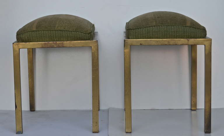 Art Deco Marc DuPlantier Gilded Iron Stools For Sale