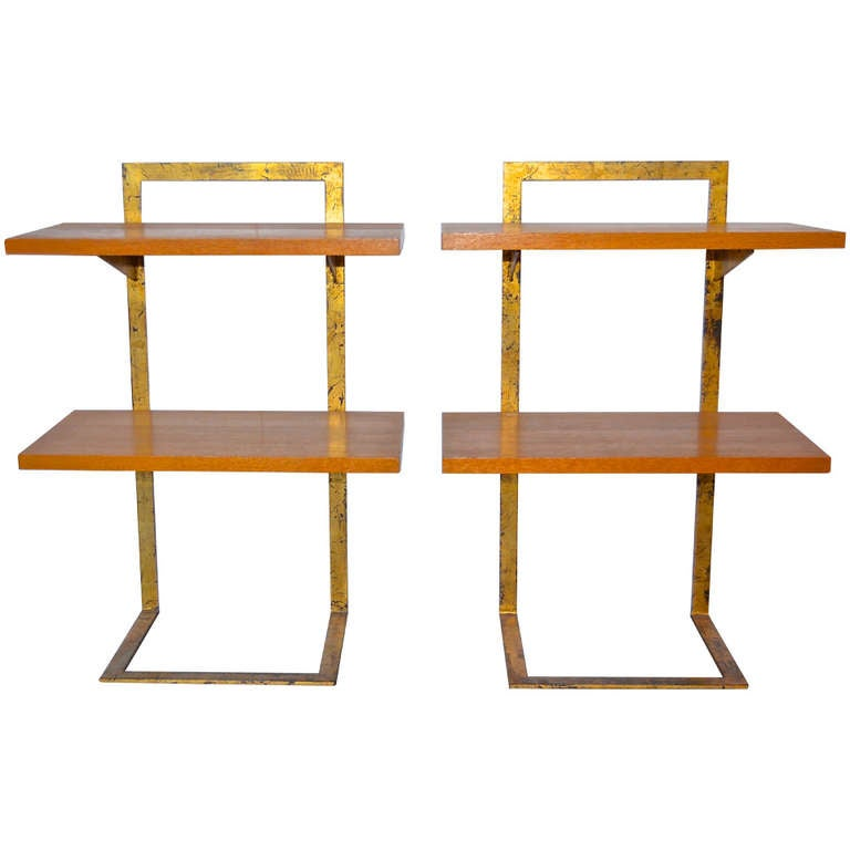 Jean Royère Gilded Iron Side Tables