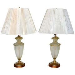 Barovier & Toso Table Lamps with Beaded String Shades