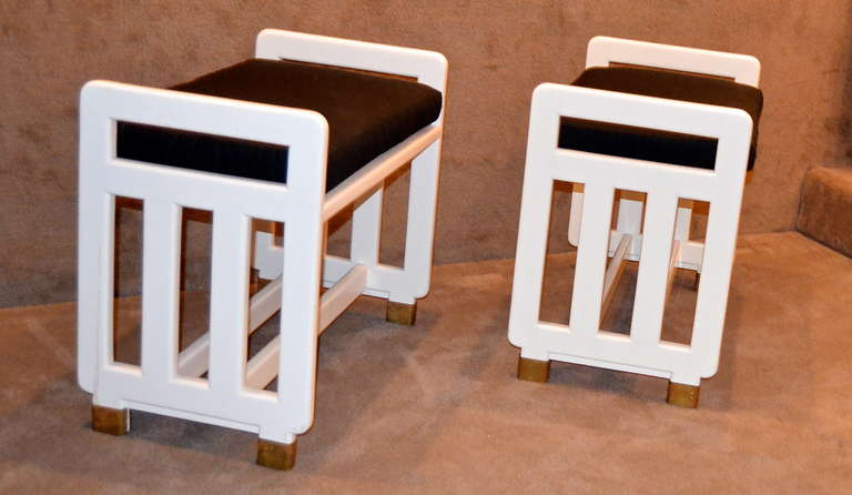 Austrian Bruno Emmel Lacquered Viennese Secessionist Benches For Sale